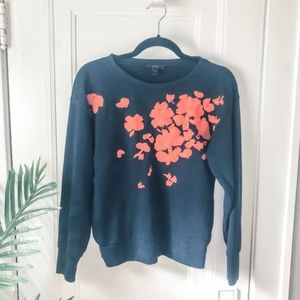 J.Crew Embroidered Floral Sweatshirt Small a4 *